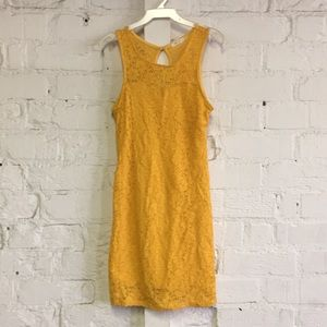 Yellow Eyelet Fitted Sleeveless Mini Dress
